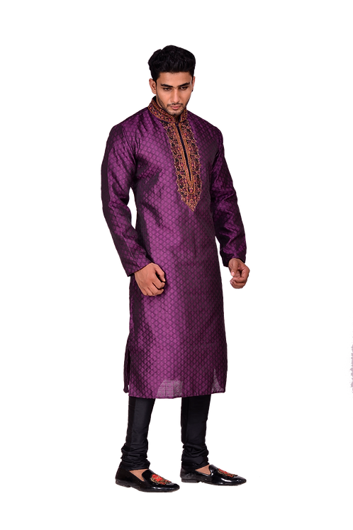 Ethnic   Woven Art Silk Jacquard Kurta Set in Purple   Indian   Kurta Paijama