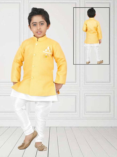 Ethnic, Kids Wear, Lemon & offwhite Kurta set, Kids Kurta Paijama, Kids Indian Outfit