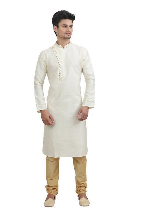 Ethnic | Kurta Paijama | Indian | Light Cream | Full Sleeve