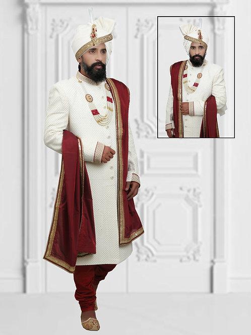 Ethnic | Off White and Red Sherwani Set | Indian | Sherwani