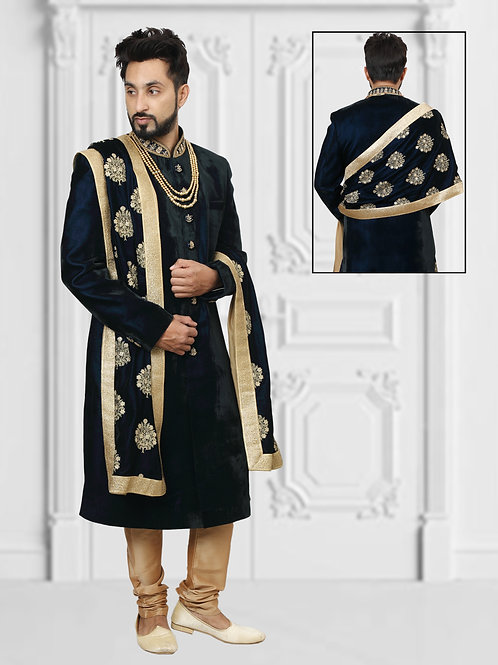 Black velvet sherwani with golden embroidery