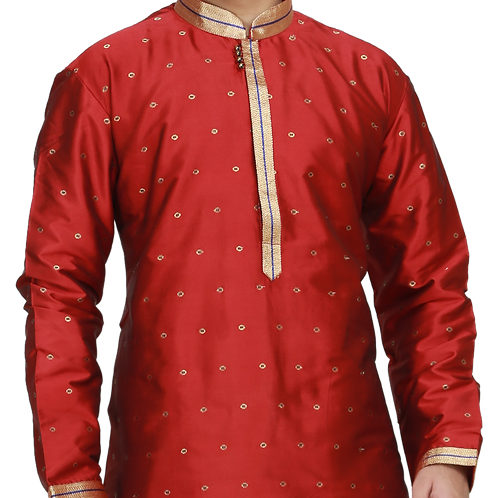 Ethnic | Woven Art Silk Kurta Set in Red | Indian | Kurta Paijama