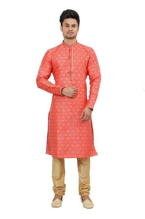 Ethnic   Kurta Paijama   Indian   Orange Print   Full Sleeve