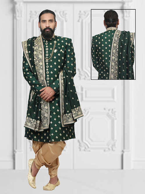 black and golden sherwani