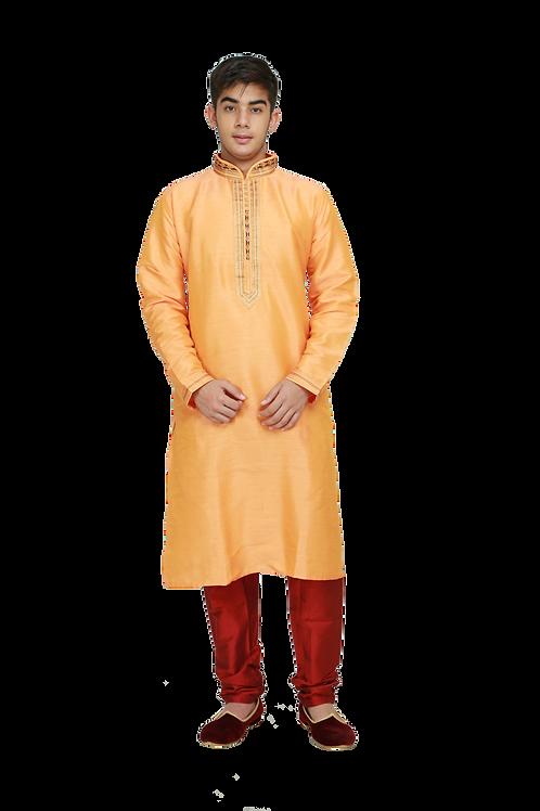 Ethnic | Woven Art Silk Kurta Set in Yellow | Indian | Kurta Paijama