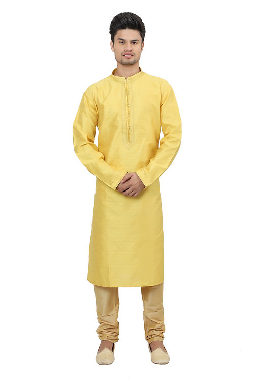 Ethnic | Kurta Paijama | Indian | Yellow Color | Full Sleeve