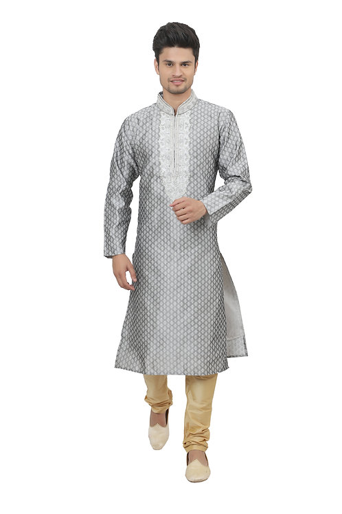 Ethnic | Kurta Paijama | Indian | Grey | Full Sleeve | Man