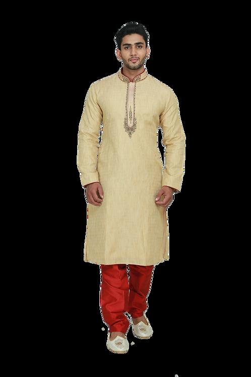 Ethnic | Woven Art Silk Kurta Set in Pale Yellow | Indian | Kurta Paijama