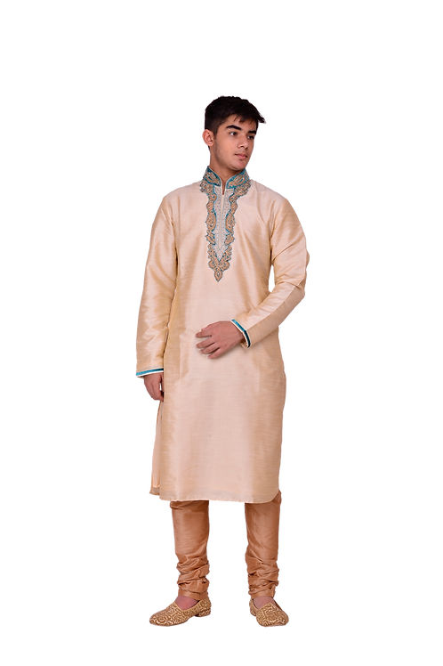 Ethnic | Woven Art Silk Jacquard Asymmetric Kurta Set in Light Peach | Indian | Kurta Paijama