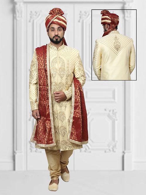 Ethnic | Cream Embroidered Sherwani Set | Indian | Sherwani