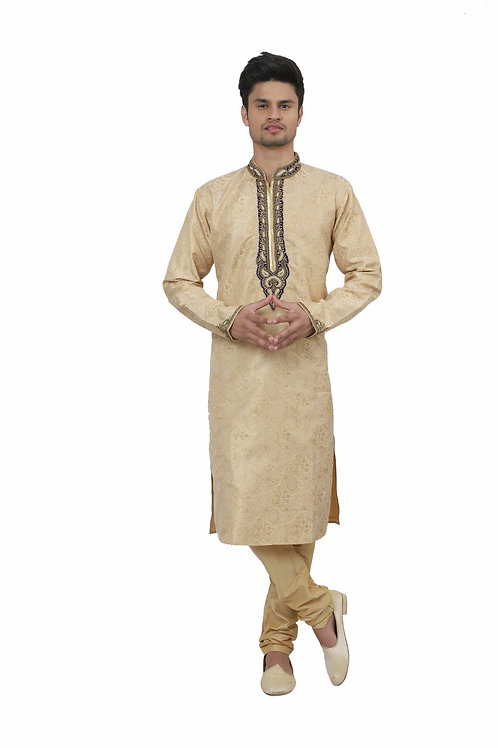 Ethnic | Kurta Paijama | Indian | Beige and Golden | Man