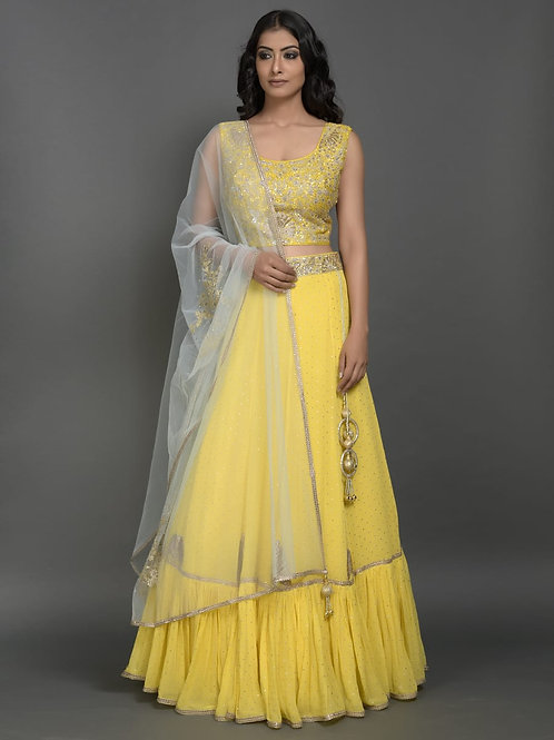 Ethnic | Mango Color Lehnga Set | Indian | Lehnga