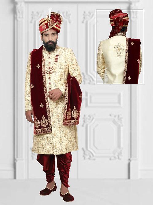 Ethnic | Cream and red sherwani set | Indian | Sherwani