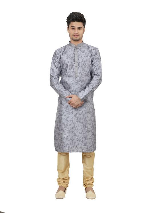 Ethnic   Kurta Paijama   Indian   Light Grey Color   Full Sleeve