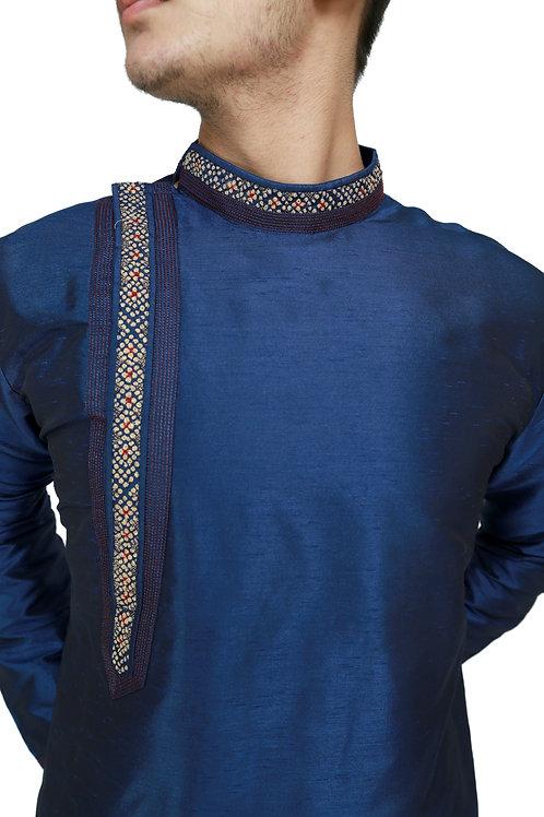 Ethnic | Embroidered Cotton Kurta Pajama in Navy Blue | Indian | Kurta Paijama