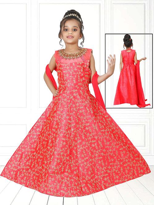 Ethnic, Kids Wear for Girls, Red embroidered long dress, Kids Designer Clothing, Indian Fashion for Kids
