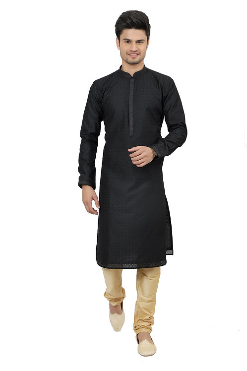 Ethnic | Kurta Paijama | Indian | Beige and Black| Full Sleeve