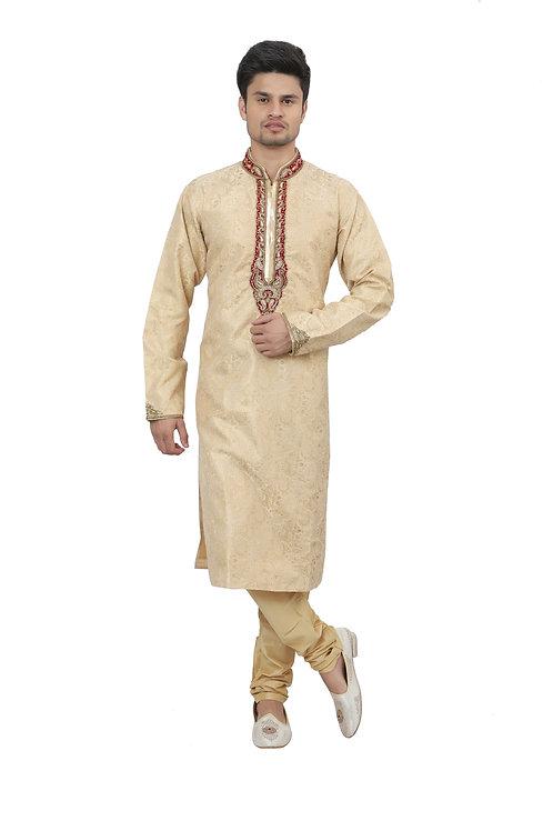 Ethnic | Kurta Paijama | Indian | Beige Color | Full Sleeve