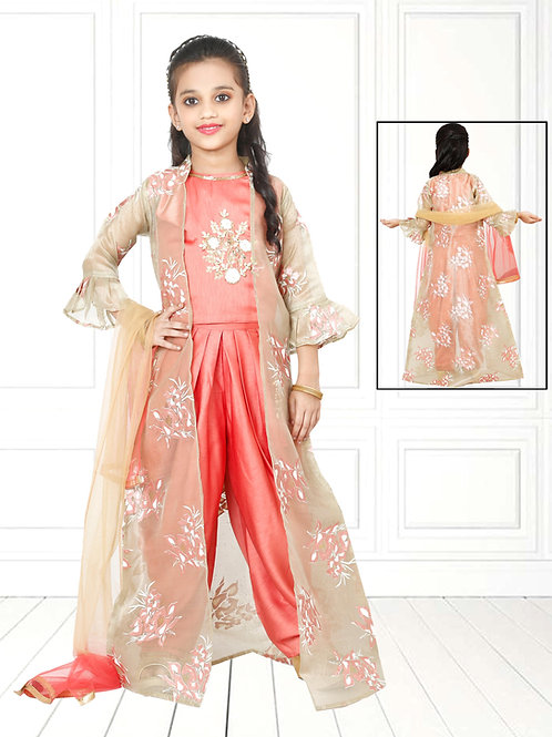 Ethnic, Kids Wear for Girls, Peach flared suit set, Kids Indian Outfit, Kids Indian Dress