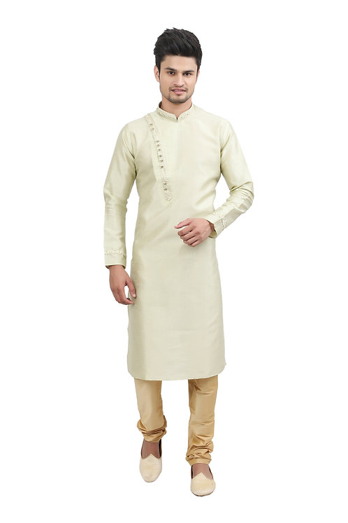 Ethnic | Kurta Paijama | Indian | Cream Side NeckLine | Full Sleeve