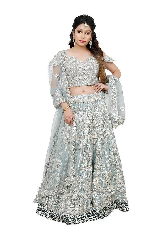 Ethnic | Grey Heavy Embroidery Lehnga | Indian | Lehnga