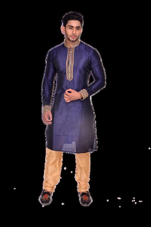 Ethnic | Embroidered Art Silk Kurta Set in Blue | Indian | Kurta Paijama