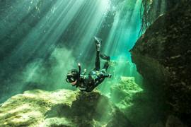 Freediver camouflaged