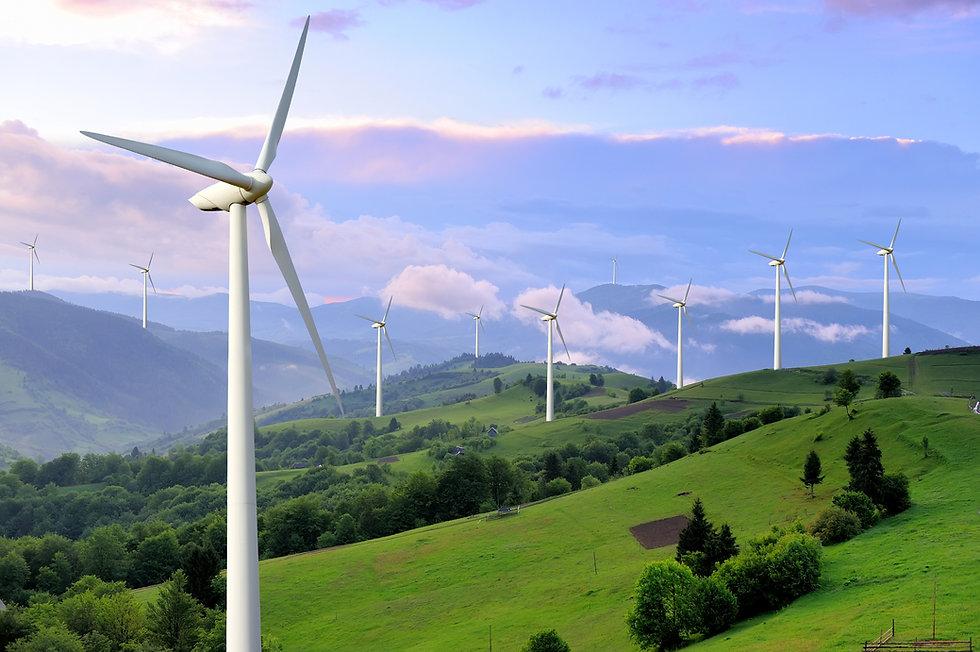 Eco power. Wind turbines generating elec