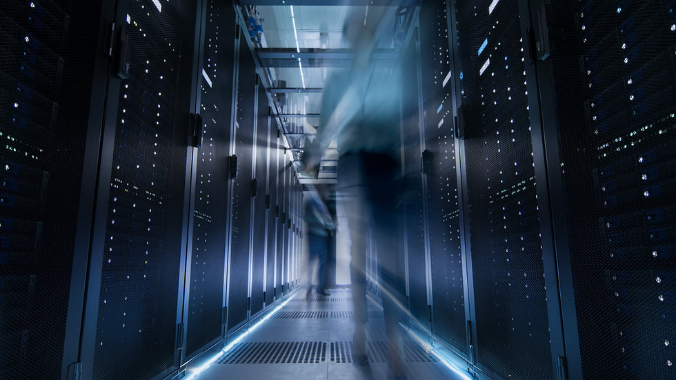 Shot of Corridor in Large Data Center Fu