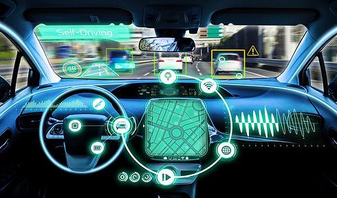 cockpit of autonomous car. self driving