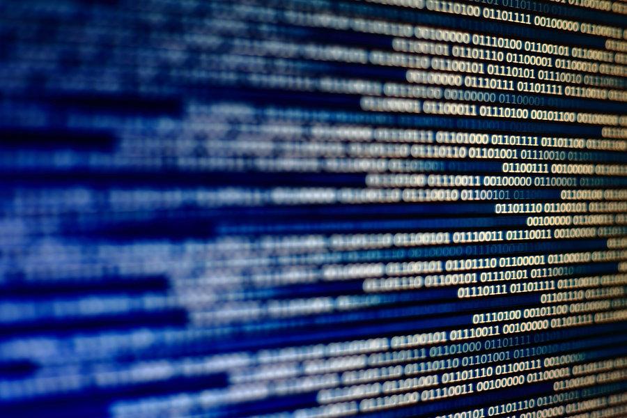 Blue binary code background. computer da