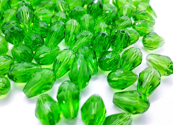 Transparent Faceted Green Drop Bead 11mm Pack of 10