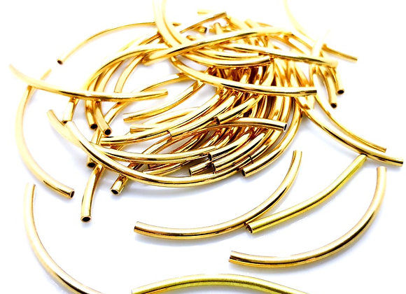 Metal Spacer Bead Curved Tube Gold 30mm