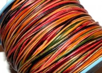 Multi Coloured Round Leather Rainbow 1mm