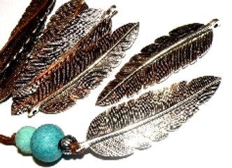 Large Antique Silver Feather Pendant