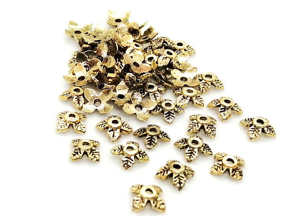 Metal Bead Caps 8mm - Gold - Pack of 20