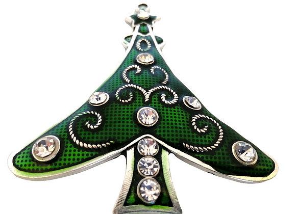 Large Enamelled Christmas Tree Pendant - Green with Crystal Rhinestones