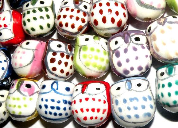Cute Porcelain Owl Beads