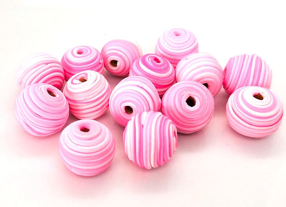 Clay Spiral Bead - Pink