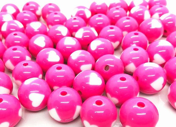 Heart Print Bead 15mm - Pink/White