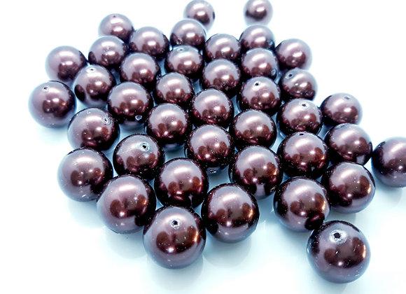 Chocolate Brown Glass Pearl Bead 16mm