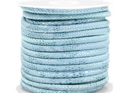 Stitched Faux Leather 4x3mm Reptile - Cloud Blue