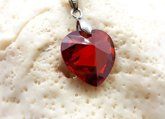 Glass Crystal Heart Pendant Red - 925 Silver