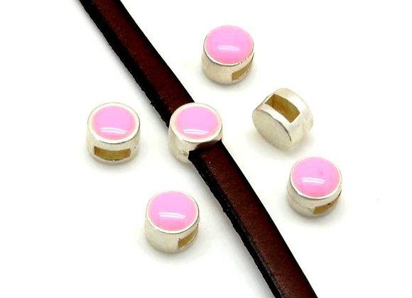 Zamak Metal Coin Slider Bead - Pink - 5mm Hole