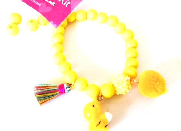 Elastic Bracelet Kit - Yellow Charms Bracelet