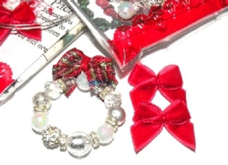 Mini Christmas Decoration - Crystal, Red Bows