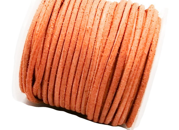 Distressed Orange Round Leather Cord 1mm
