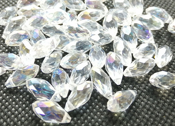 Top Drilled Electroplate Glass Faceted Drop Bead 11mm Clear AB