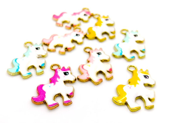 Enamelled Metal Unicorn Charms - Choice of Colours