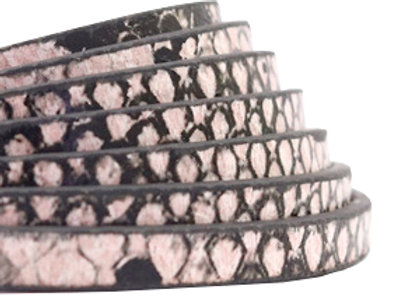 PU Faux Leather Snake Light Pink Flat Leather 5mm